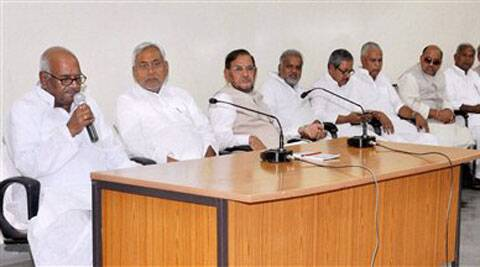 Former Bihar chief minister Nitish Kumar along with JD(U) national president Sharad Yadav address party MLAs in Patna on Sunday. (PTI)