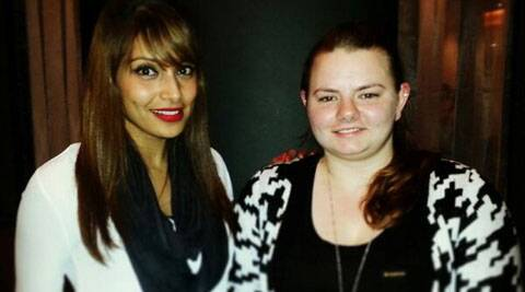 Bipasha Basu with her fan.