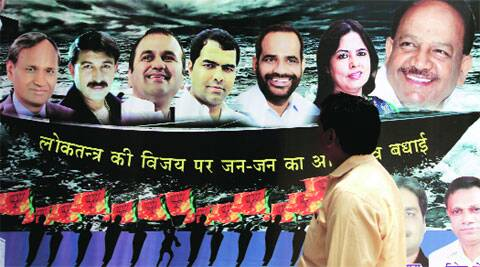 (L-R): Udit Raj, Manoj Tiwari, Maheish Girri, Parvesh Sahib Singh, Ramesh Bidhuri, Meenakshi Lekhi and Harsh Vardhan are Delhi's seven MPs. ( Source: Express photo by Ravi Kanojia )