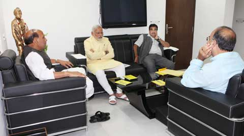 Rajnath Singh, Arun Jaitley and Nitin Gadkari met Modi to chart the course for the party. (Express Photo)