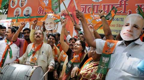 BJP has decimated Congress as it registers leads in Delhi and Rajasthan. (PTI)