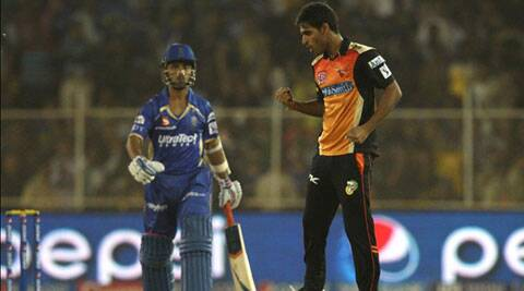 Sunrisers Hyderabad medium-pacer Bhuvneshwar Kumar wreaked havoc in Rajasthan Royals' strong batting line-up with a match-winning spell of 4/14 on Thursday. (IPL/BCCI)