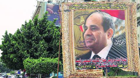 A huge banner of former army chief Sisi in Cairo. Reuters