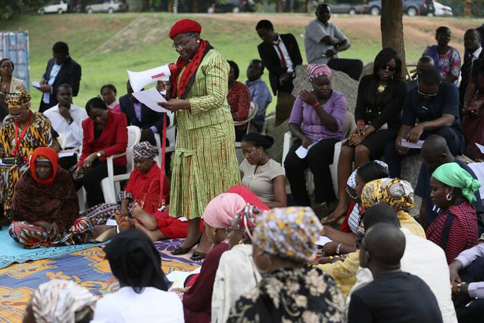 Obiageli Ezekwesili, former World Bank vice president and former Minister of Education, addresses a sit-in protest calling for the release of the abducted secondary school girls in the remote village of Chibok, at the Unity Fountain Abuja. ( Source: Reuters )