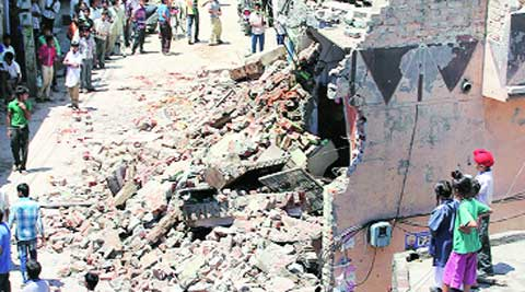 During the demolition drive in Ludhiana on Tuesday.