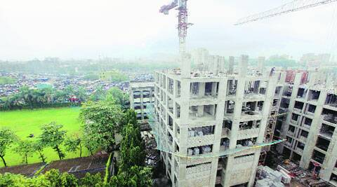 The structure coming up at sector 5, in Dharavi. ( Source: Express photo by Kevin D'Souza )