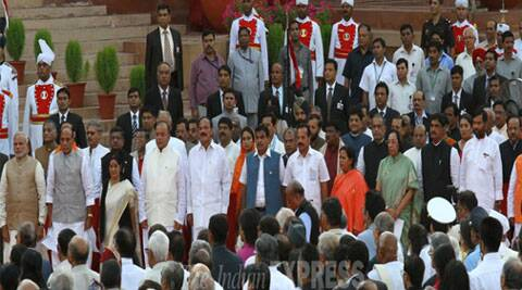 Narendra Modi poses with his 45-member Council of Ministers. (Source: Express Photo by Neeraj Priyadarshi)