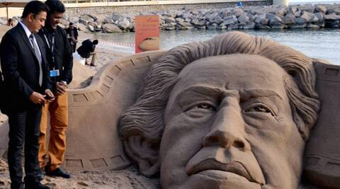 Patnaik created the sand sculpture to pay tribute to Satyajit Ray at Cannes.