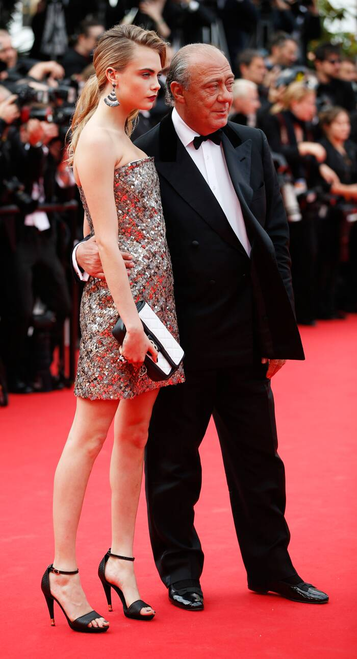 The Queen of the Catwalk, Cara Delevingne poses with Fawaz Gruosi prior to the premiere of 'The Search'. (Source: AP)
