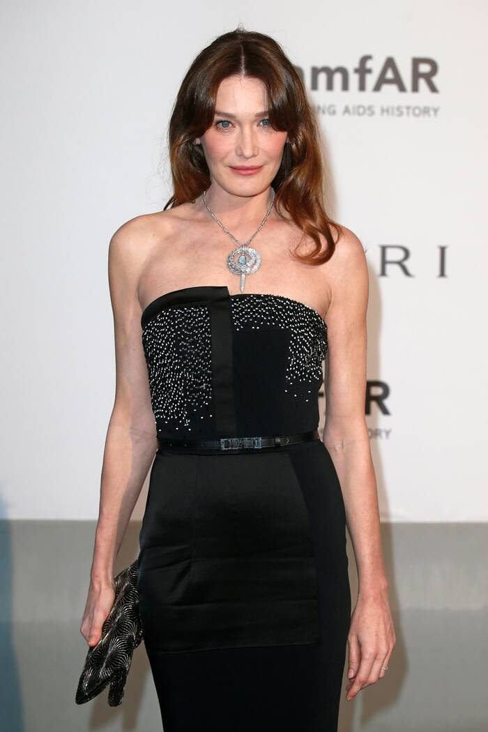 Former French first lady Carla Bruni-Sarkozy was stunning in a Maxime Simoens gown for the evening. (Source: Reuters)