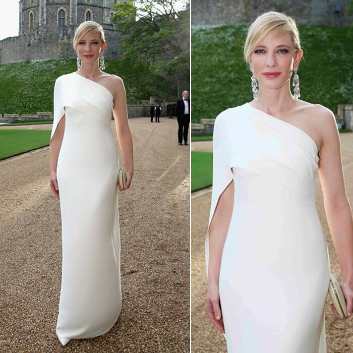 Academy Award winner Cate Blanchette looked beautiful in a Ralph Lauren one shoulder white gown with danglers. ( Source: AP )