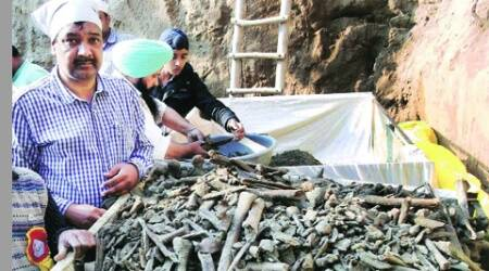 Surinder Kochhar with the remains that have been brought to Chandigarh for tests.(Express)