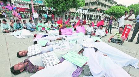 Members of the CPI (ML) along with various organisations protest against the demolition drive, at Plaza in Sector 17, Chandigarh, on Sunday.