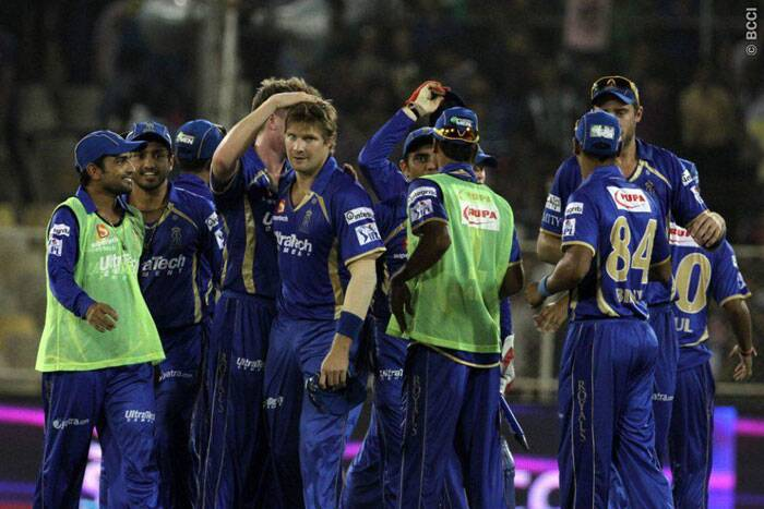 Rajasthan Royals celebrate their 10-run victory over Kolkata Knight Riders in Ahemdabad on Monday. (Photo: BCCI/IPL)