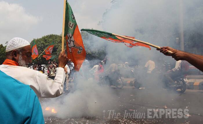 Victory celebrations in Vadodara as Narendra Modi wins. (Source: Express Photo by Bhupendra Rana)