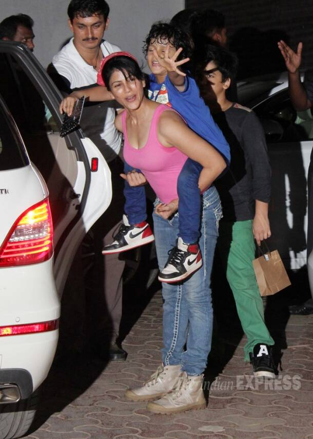 Maanyata Dutt and twins at Shilpa Shetty's son Viaan's 'Kundra Style' party