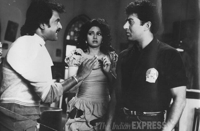 <b>Chaalbaaz</b>: The 1989 superhit movie directed by Pankaj Parashar was a remake of 1973 superhit film 'Seeta Aur Geeta'. It had Sridevi in double role with Sunny Deol and Rajinikanth playing her love interest.  Rajinikanth played the role of a taxi driver Jaggu. (Source: Express archive photo)