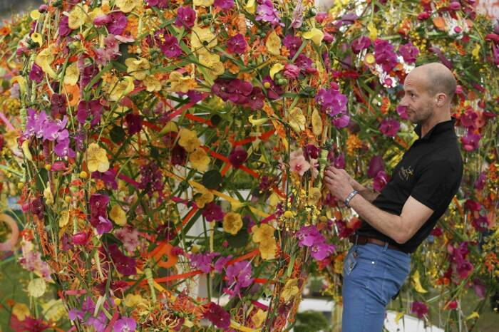 A man works on a display of flowers at the Chelsea Flower Show. (Source: Reuters)