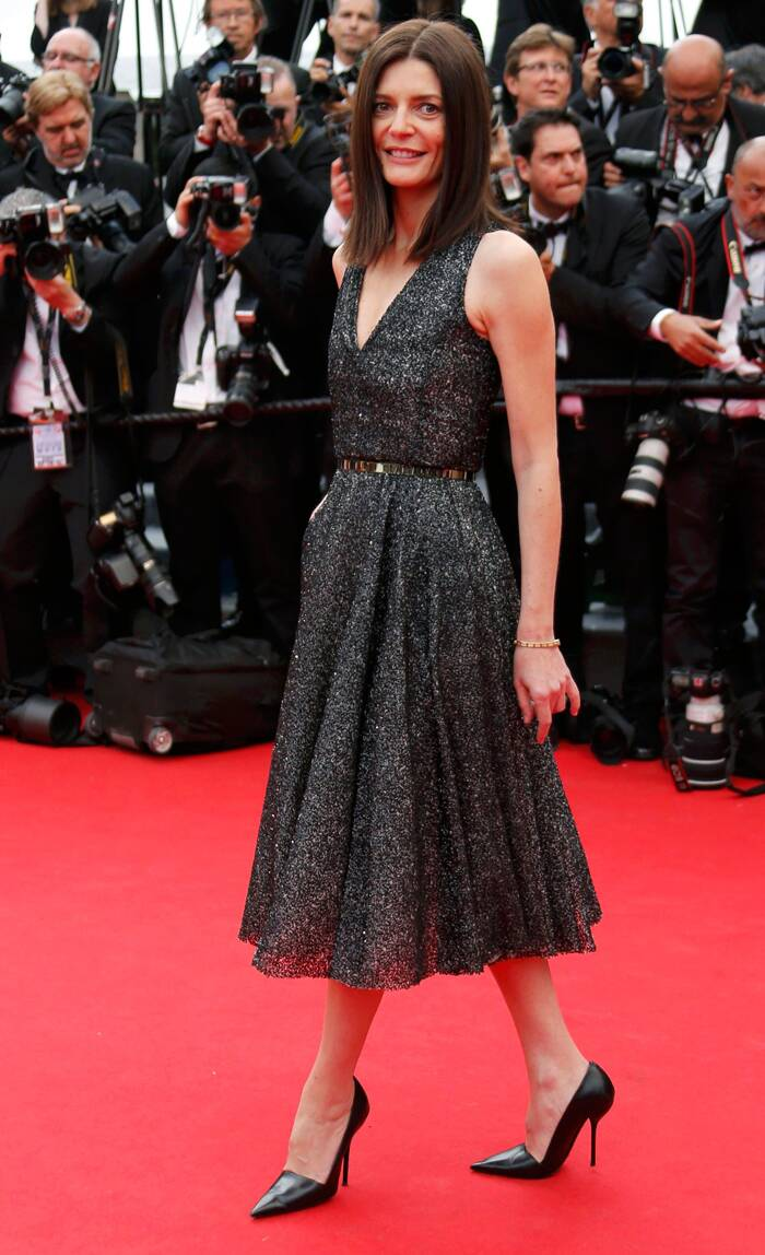 French beauty Chiara Mastroianni picked a shimmery grey-black dress with a belt and black pumps. Seen here, the actress strikes a pose on the red carpet as she arrives for the opening ceremony of the 67th Cannes Film Festival and the screening of the 'Grace of Monaco'. ( Source: Reuters )