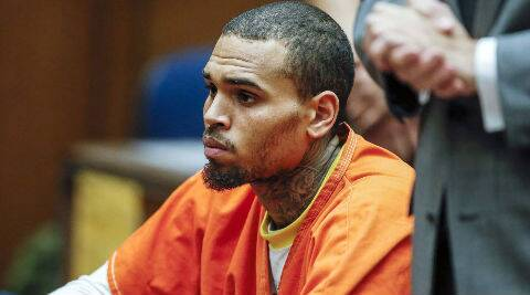 Chris Brown appeared in a hearing on May 9 in Los Angeles where he made the admission wearing his orange uniform. (AP Photo)