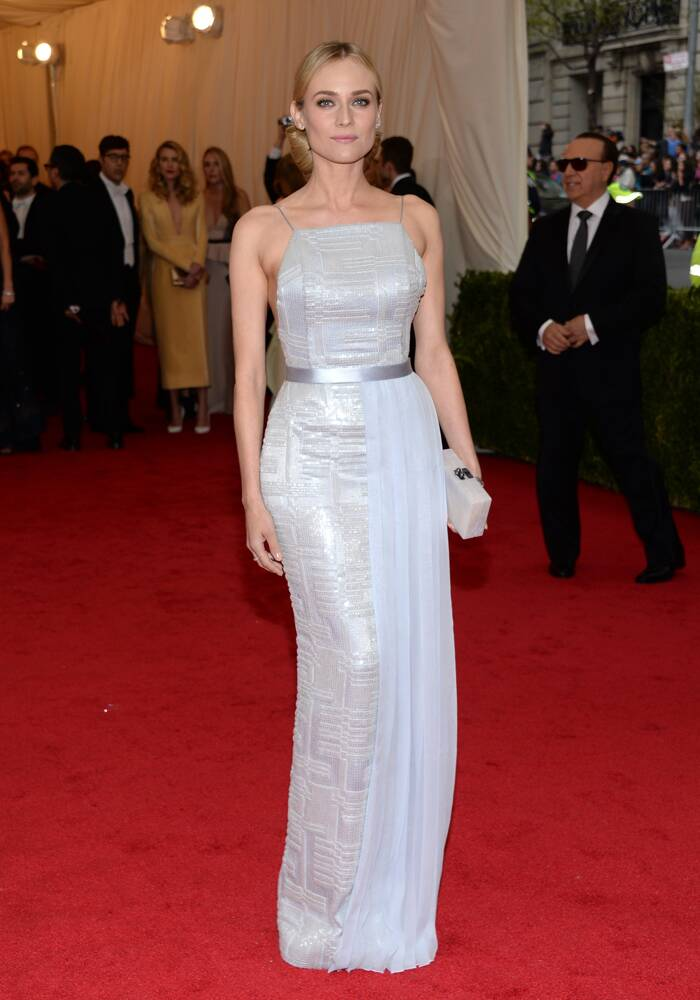 Diane Kruger was pretty in a silver Jason Wu for Hugo Boss dress with an Edie Parker clutch and Jaeger LeCoultre jewellery. (AP)