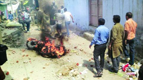 A BJP leader's bike was set ablaze in Meerut. (Amit Sharma)