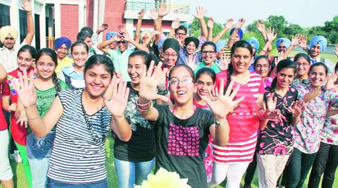 Jubilant students at Guru Nanak Public School in Ludhiana on Tuesday. ( Source: Express photo by Gurmeet Singh )