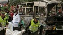 Colombia 'shattered' after 33 children die in bus fire