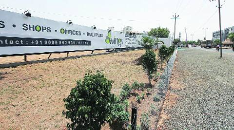 The site of Gaekwad property where a commercial complex is being constructed.