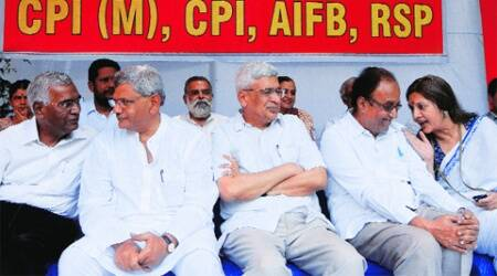 D Raja, Sitaram Yechury, Prakash Karat, G Sudhakar Reddy and Brinda Karat protest at Jantar Mantar, in New Delhi, Wednesday.  ( Source: Express photo by Prem Nath Pandey )