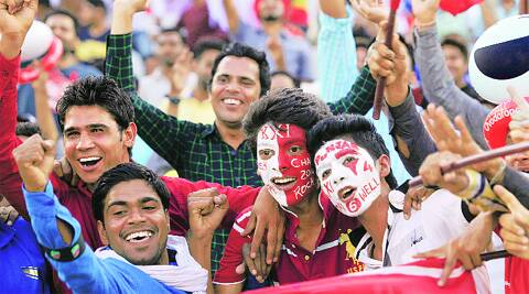 Fans in high spirits during a Kings XI Punjab and Mumbai Indians match at PCA Stadium in Sector 63, Mohali, on Wednesday.  ( Source: Express photo byJasbir Malhi )