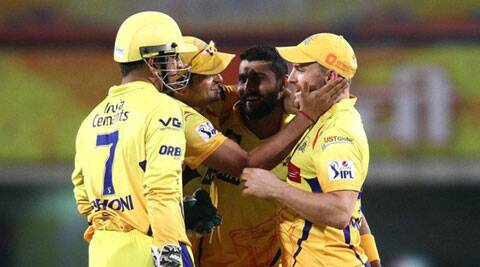 Chennai Super Kings players celebrate the fall of a wicket against Kolkata Knight Riders in Ranchi. (IPL/BCCI)