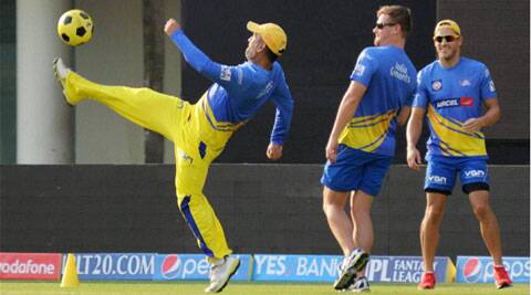 Chennai Super Kings captain MS Dhoni displays his footballing skills in Ranchi on Thursday. CSK face KKR on Friday. (PTI)