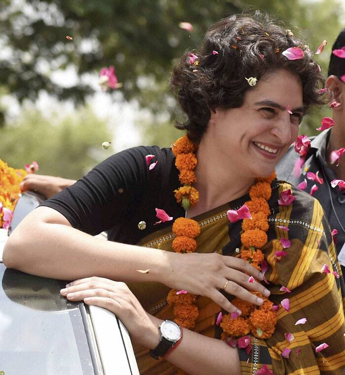 Priyanka Vadra  during her election campaign for brother and Congress Vice President Rahul Gandhi in Amethi on Friday. (PTI)