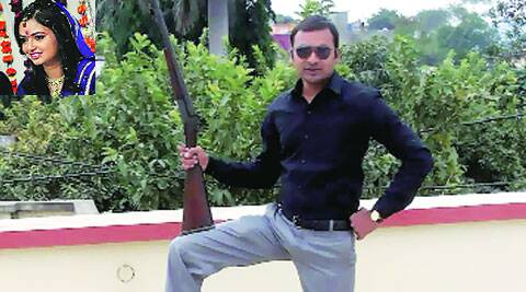 Jayshree (inset); Anurag posing with a rifle in a photo on his  Facebook page.