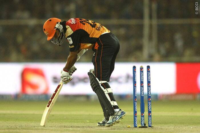 Skipper Shikhar Dhawan was off to a flier helping Hyderabad score 37 in four overs before he was out bowled after scoring 33 runs  off 20 balls. (Photo: BCCI/IPL)