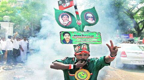 A supporter of Jayalalithaa celebrates in Chennai on Friday. ( Source: Reuters )