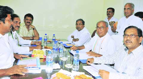 K Siddaramaiah, Digvijaya Singh, G Parmeshwar, K J George and others at the KPCC meeting on Wednesday.