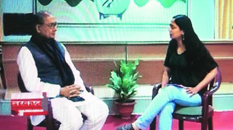 Rajya Sabha TV anchor Amrita Rai interviews Digvijaya Singh.