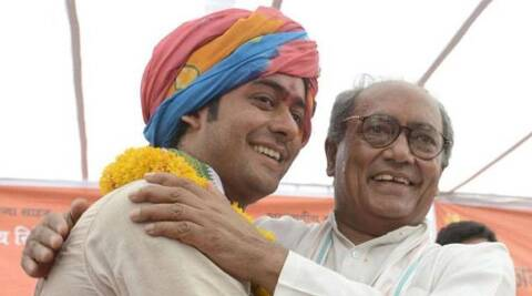 Congress general secretary Digvijay Singh and his son Jaivardhan Singh. PTI file photo