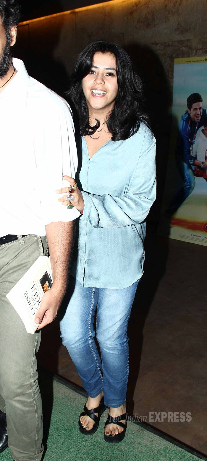 Soap opera queen Ekta Kapoor seems to be trying her best to hide from the cameras. (Photo: Varinder Chawla)