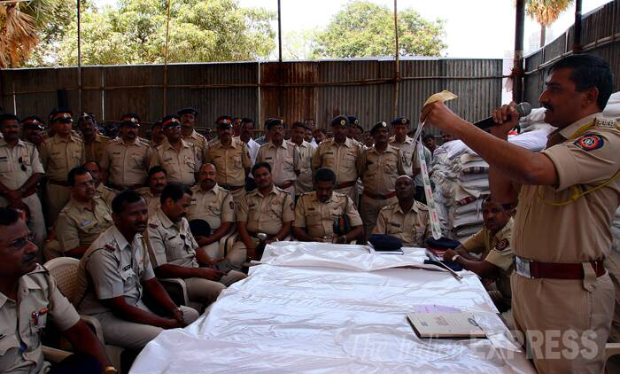 Security briefing at NESCO complex ground in Goregaon, Mumbai. (Source: Express Photo by Amit Chakravarty)