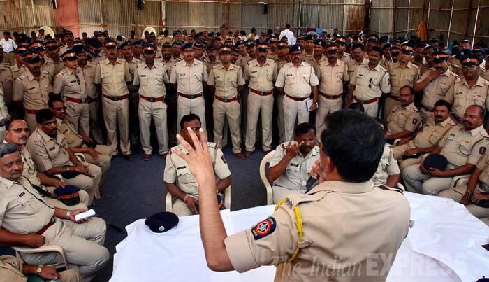 Security personnel at the NESCO complex ground in Goregaon, Mumbai where vote counting will be done. (Source: Express Photo by Amit Chakravarty)