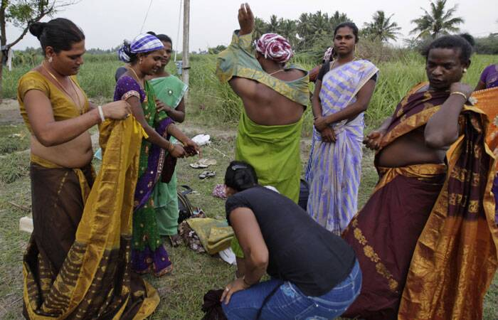 Eunuchs dress up during the annual eunuch festival in Koovagam. (AP)