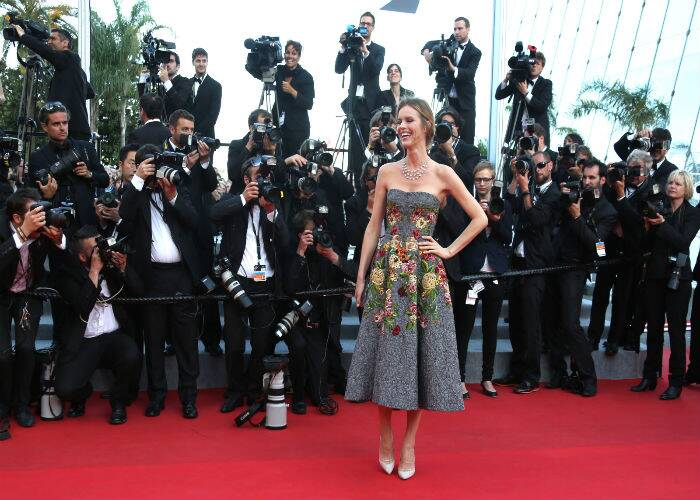 Czech model Eva Herzigova picked a gorgeous Dolce & Gabanna creation for her walk on the red carpet at the premiere of 'Two Days, One Night'. (Source: AP)