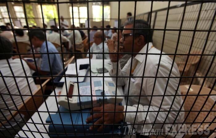 Counting of ballots begins in Vadodara on Friday morning. (Source: Express Photo by Bhupendra Rana)