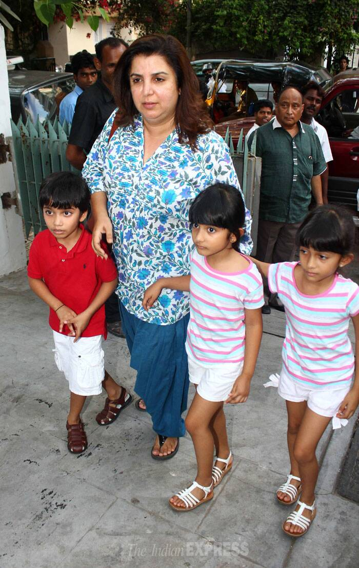 Director Farah Khan was seen spending some quality time with her triplets – Czar, Diva and Anya in Mumbai on Friday ( May 30 ).