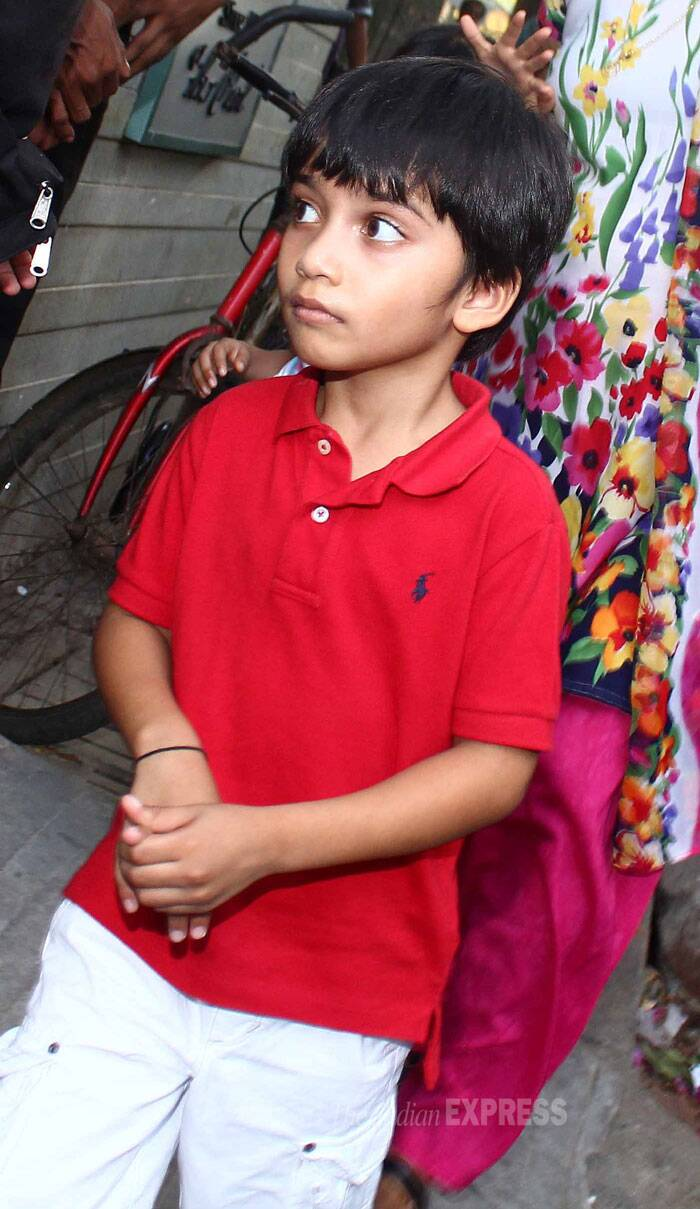 Here's Farah Khan's son Czar in a bright red tee shirt. (Source: Varinder Chawla)