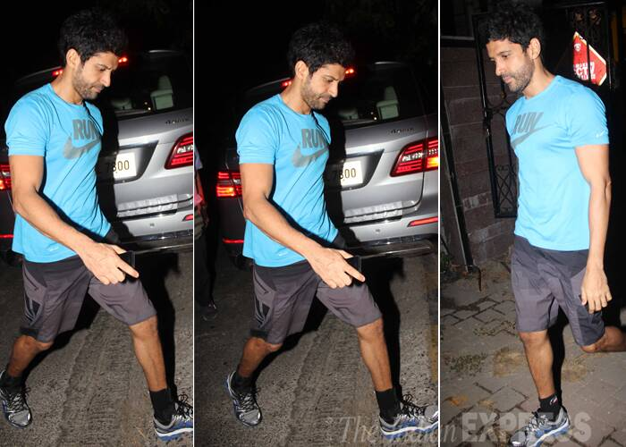Zoya's brother, Farhan Akhtar who also stars in his sister's directorial venture also looked like he had returned from the gym in a jersey with shorts and sneakers. ( Source: Varinder Chawla )