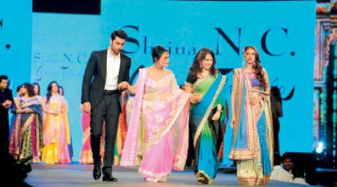 Ranbir Kapoor with actor Sadhana (in pink sari).
